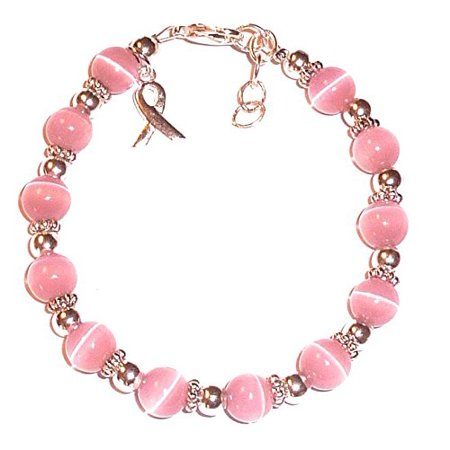 Hidden Hollow Beads BREAST Cancer Awareness Bracelet, 8mm beads, 7 3/4 inches long with extentions - Breast Cancer Awareness Bracelets