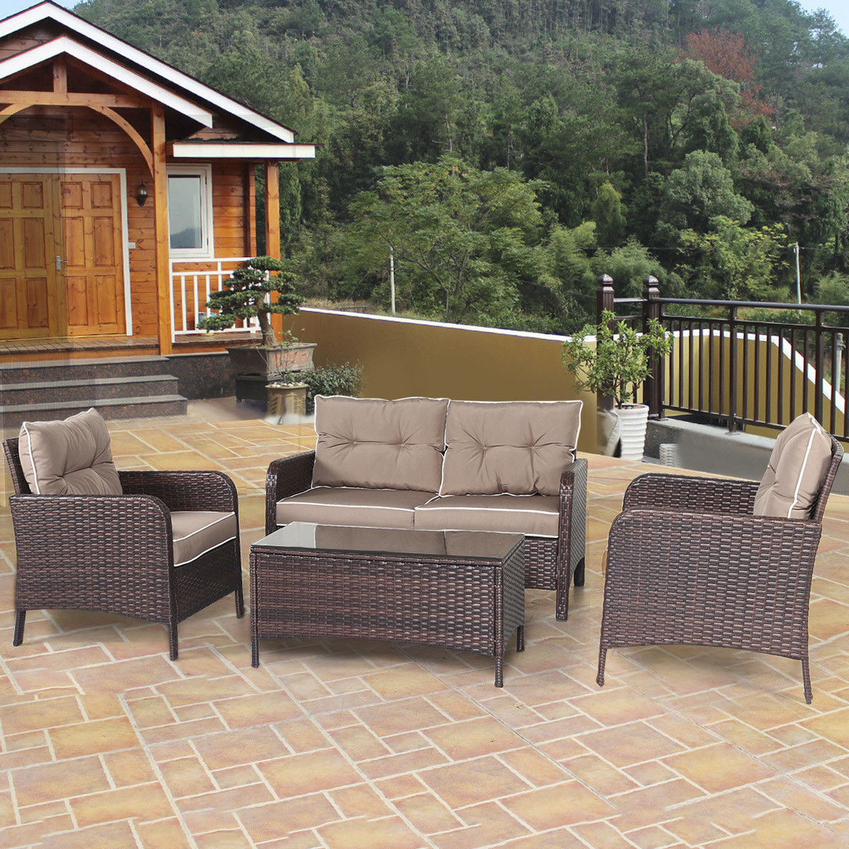 Costway 4 PCS Outdoor Patio Rattan Wicker Furniture Set Sofa Loveseat W/ Cushions