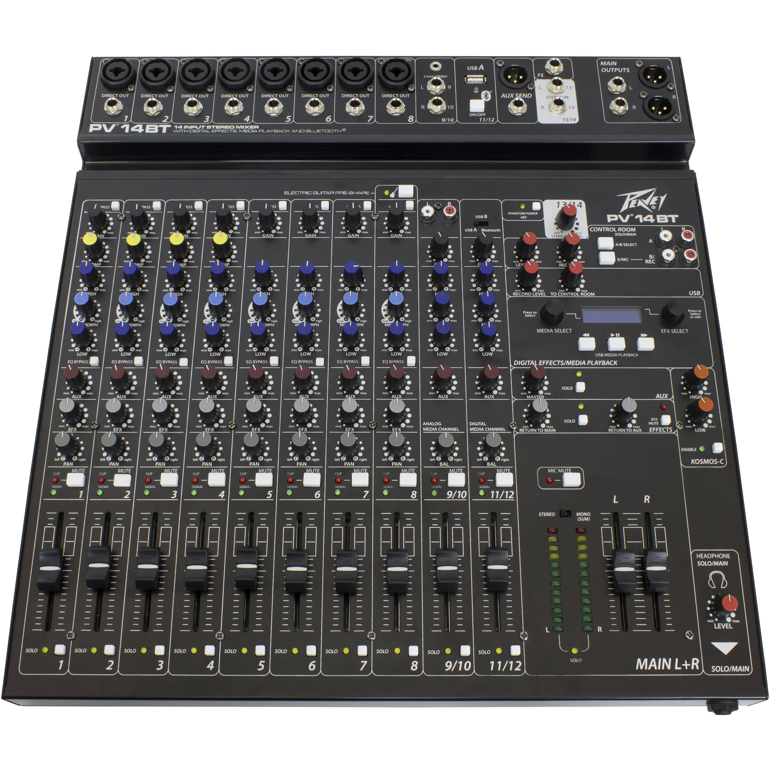 Peavey PV 14 BT Pro Audio DJ 14 Channel Analog Mixer Bluetooth Streaming Audio Factory... by