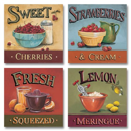 Vintage Sweet Cherries, Lemon Meringue, Fresh Squeezed and Strawberries and Cream Sign: Four 12X12 Prints