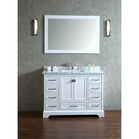 Newport White 48 Inch Single Sink Bathroom Vanity With