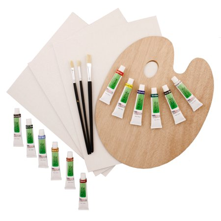 Us art supply 19 piece acrylic painting set canvas panels for Acrylic mural paint supplies