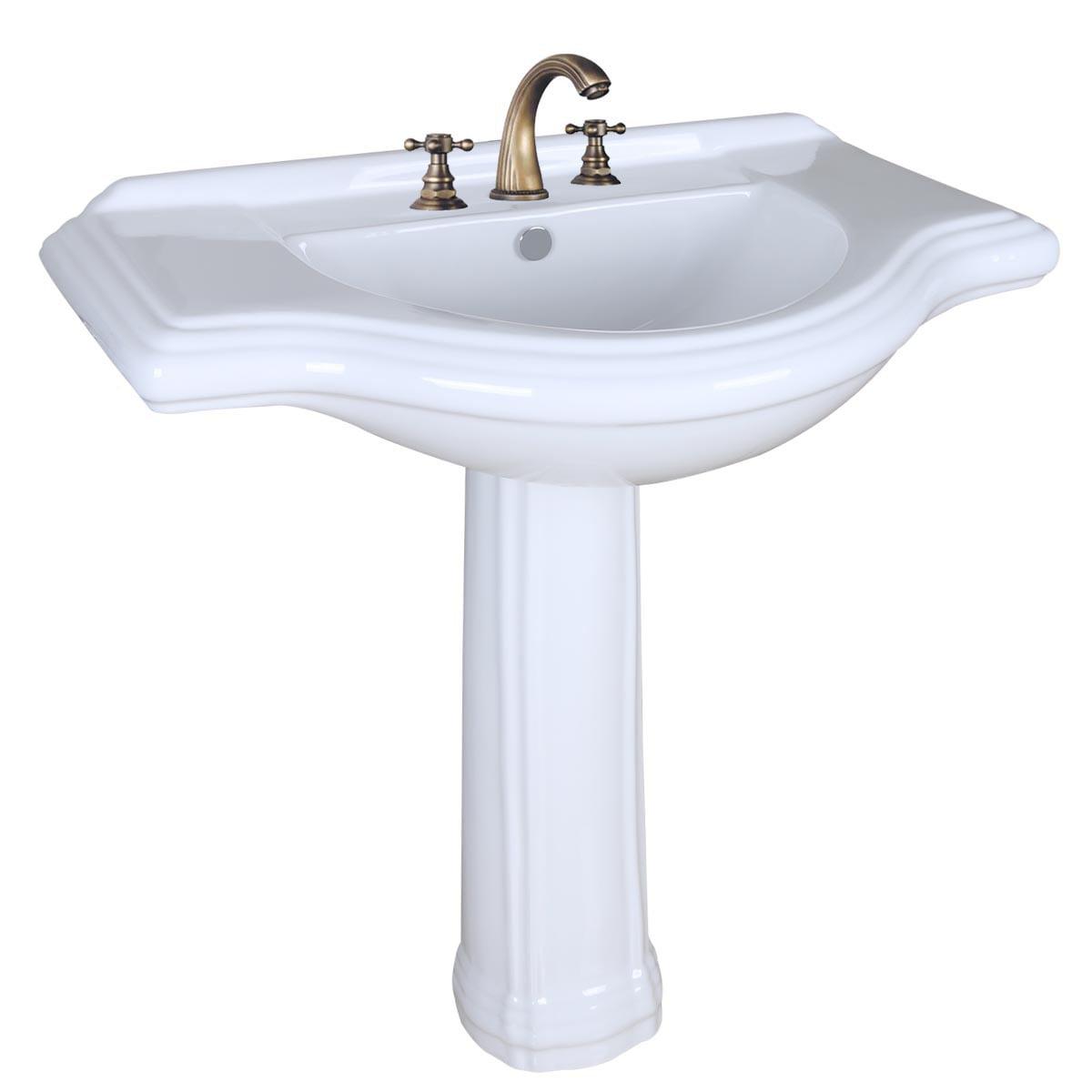 Large Bathroom Pedestal Sink White Porcelain 34in Wide Wi...