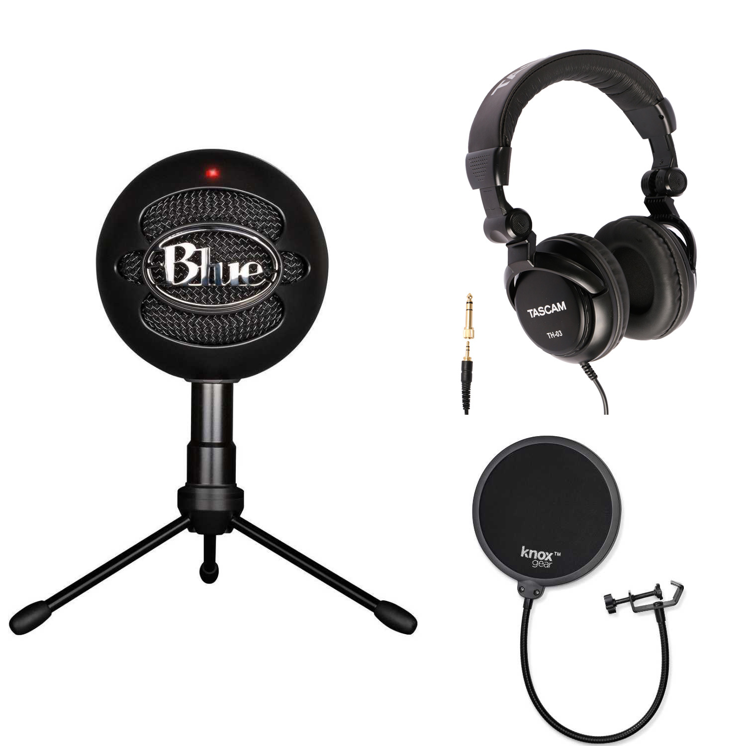 Blue Microphones Snowball iCE Microphone (Black) with Headphones and Pop Filter