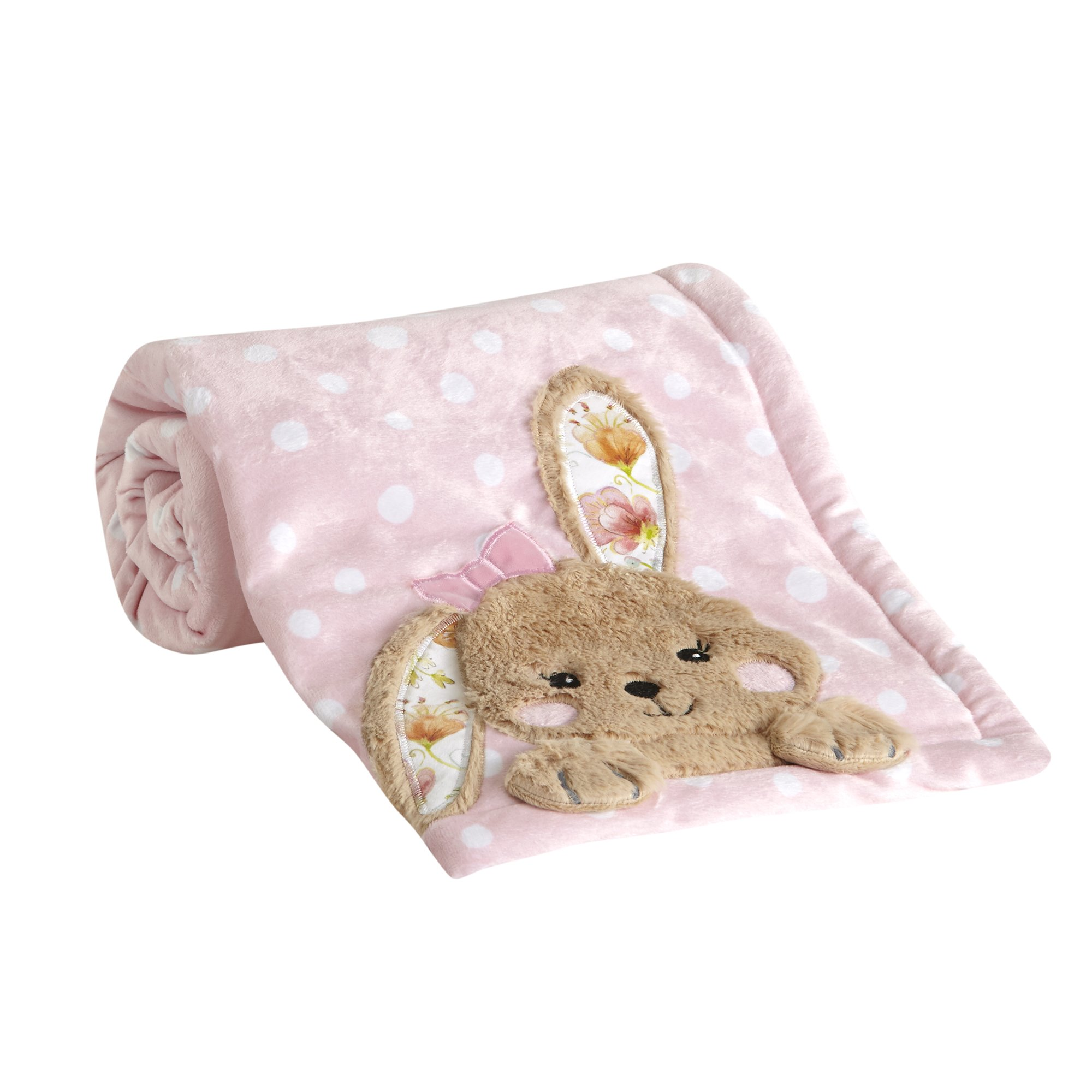 Lambs & Ivy Sweet Spring Pink Polka Dot Bunny Luxury Fleece Baby Blanket