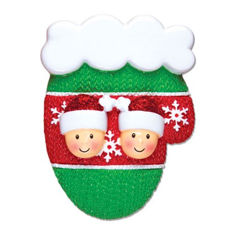 PERSONALIZED CHRISTMAS ORNAMENTS-MITTEN W/FACES-COUPLE
