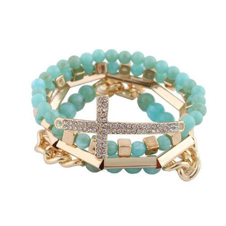 Turquoise with Goldtone 4 Piece Bundle of Iced Out Cross, Link, & Bar Chain Beaded Stretch Bracelet