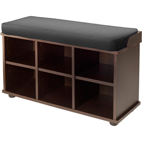 Townsend Bench with Black Cushion Seat, Expresso - Walmart.com