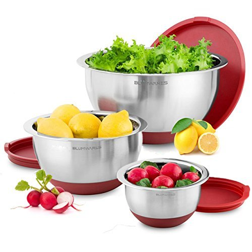 Blumwares 3-Piece Stainless Steel Mixing Bowls with Lids & Non-Skid Rubber Grip by Belmint