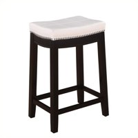 """Hawthorne Collection 24"""" Faux Leather Counter Stool in White"""