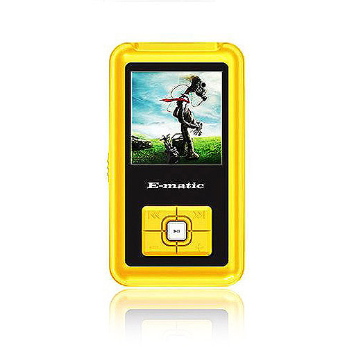 "Ematic 4GB Built-in Flash MP3 Video Player with 1.5"" Screen, Yellow"