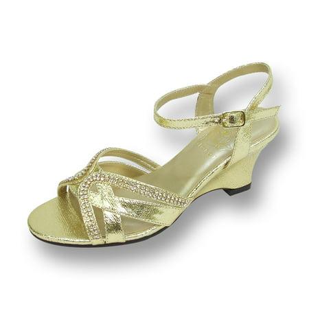 Gold Gem Wedge - FLORAL Leah Women's Wide Width Open Toe Curvy Rhinestone Strips Wedge Sandal GOLD 6