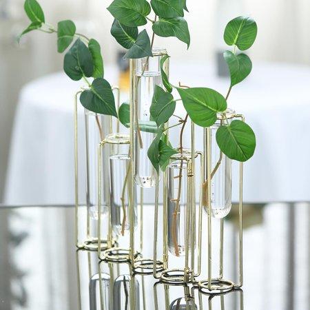Efavormart Set of 5 - Conjoined Geometric Metal Flower Vase Racks Hydroponic Test Tube Vase ()