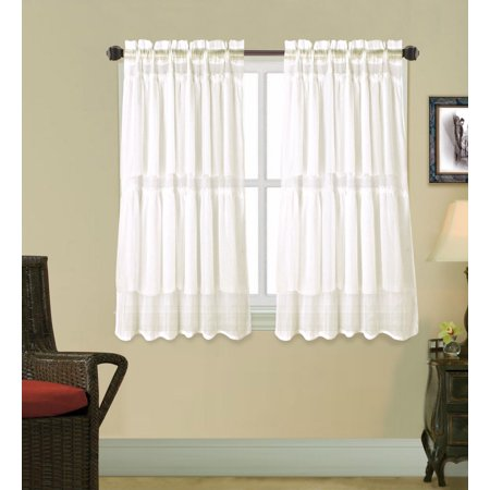 "1pc Ivory Gypsy Ruffled Rod Pocket Sheer Window Curtain Panel 55""W x 36""L"