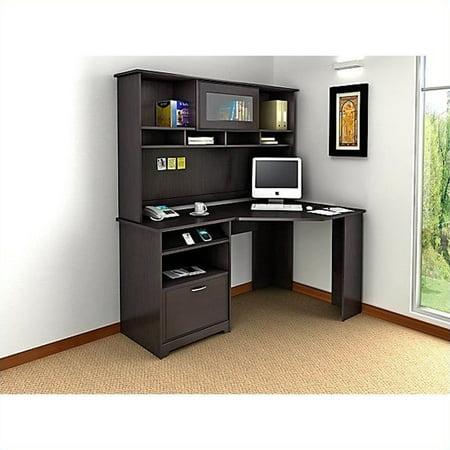 Bush Cabot Corner Computer Desk With Hutch In Espresso Oak