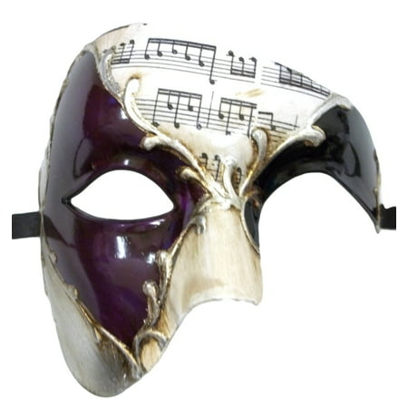 Men's Phantom Music Purple Silver Large Mardi Gras Masquerade Elegance Mask - Mardi Gras Mask On A Stick