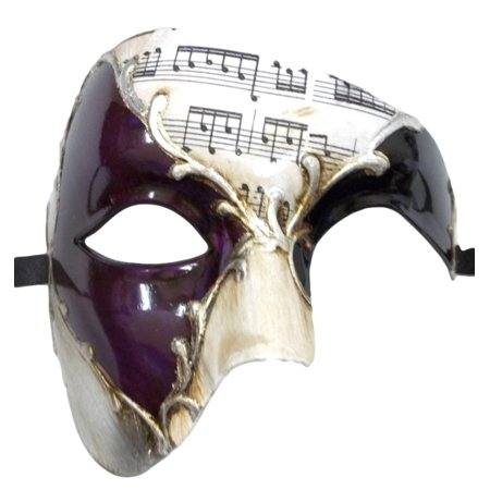Silver Mardi Gras Mask (Men's Phantom Music Purple Silver Large Mardi Gras Masquerade Elegance)