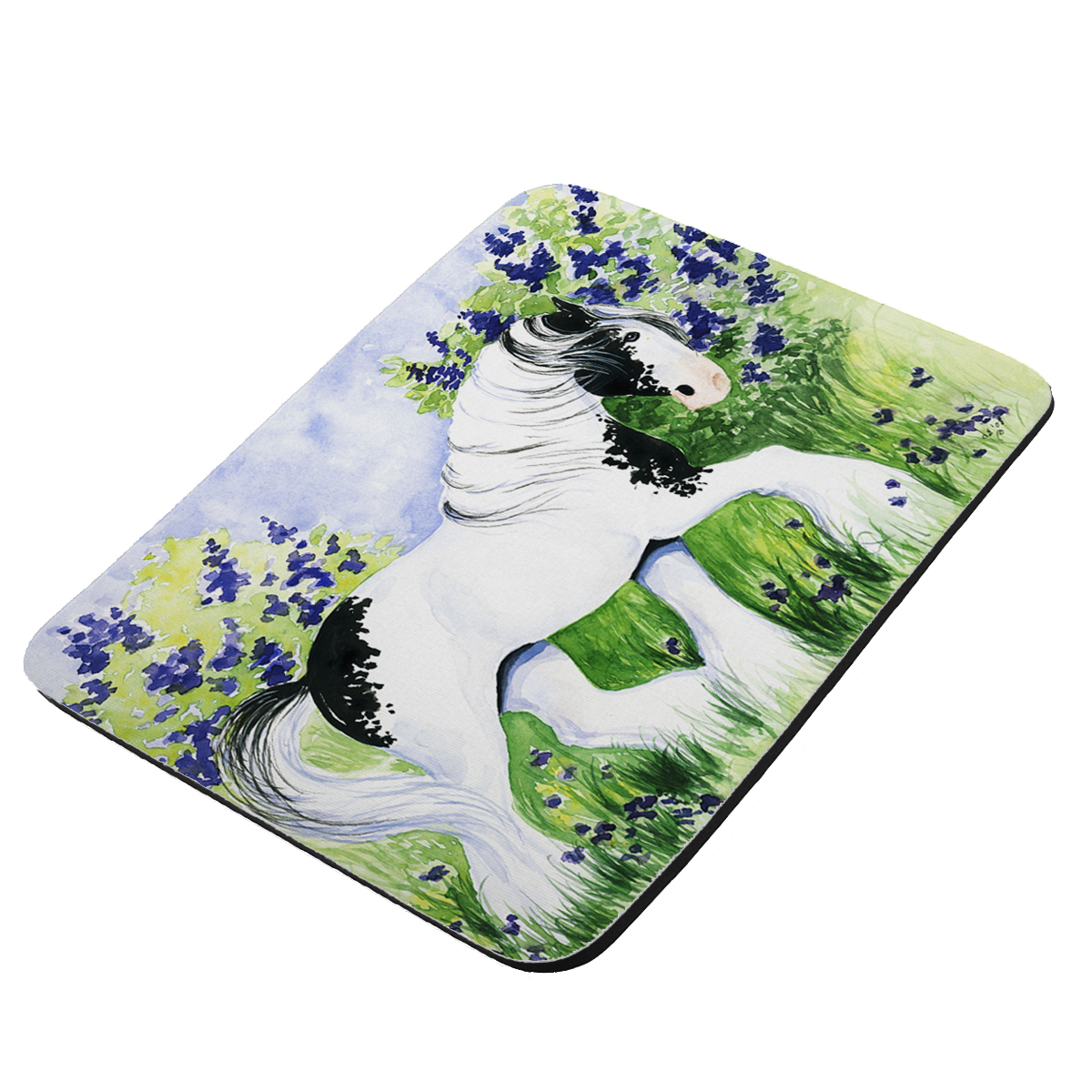 Piebald Gypsy Cob with Lilacs and Violets Horse Art by Denise Every - KuzmarK Mousepad / Hot Pad / Trivet