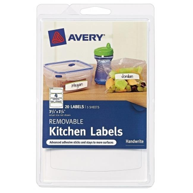 Avery 41455 3-. 50 inch X 1-1-4 inch  Removable Kitchen Labels Pack Of 6