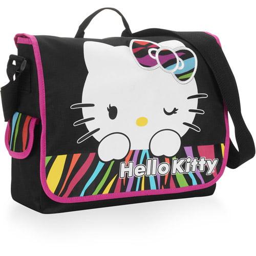 Hello Kitty Multi Color Zebra Print Messenger Bag