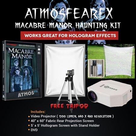 Halloween Atmosfearfx Macabre Manor Projector Kit, 1200 Lumen Projector with 640 x 480 Resolution (Halloween Manor)
