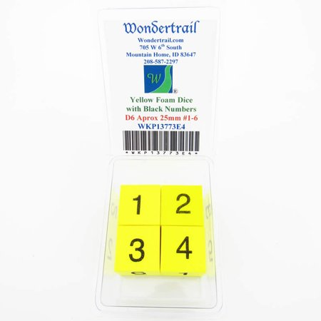 Yellow Foam Dice with Black Numbers 1-6 D6 25mm (1in) Set of 4 Wondertrail