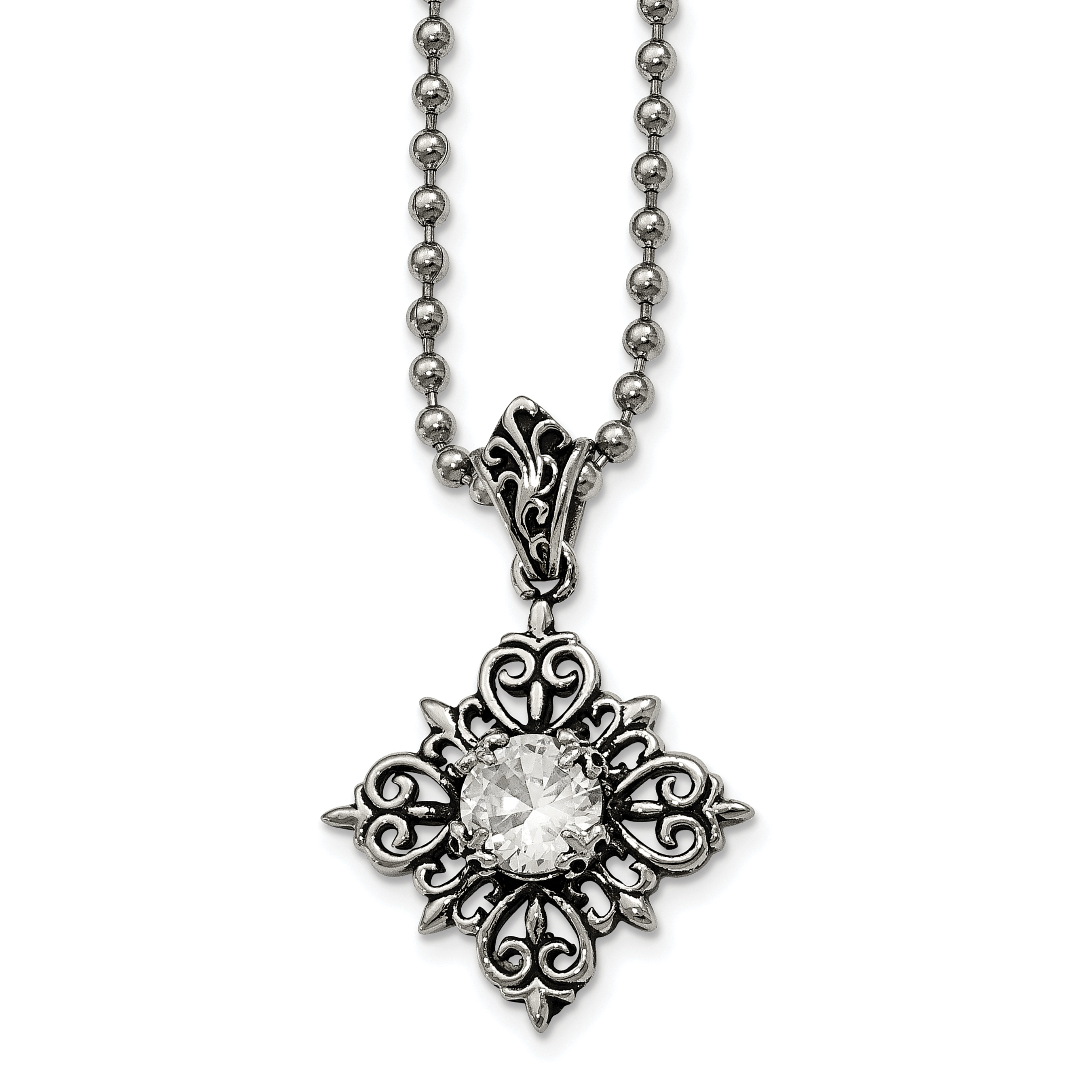 Stainless Steel Antiqued and Polished with Glass Necklace 24in - image 4 of 4
