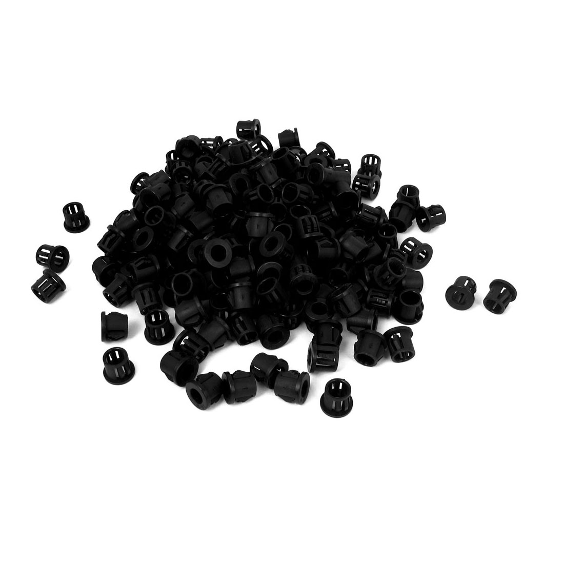 Unique Bargains Plastic 10mm Cable Hose Snap Locking Bushing Protective Grommet 500Pcs Black