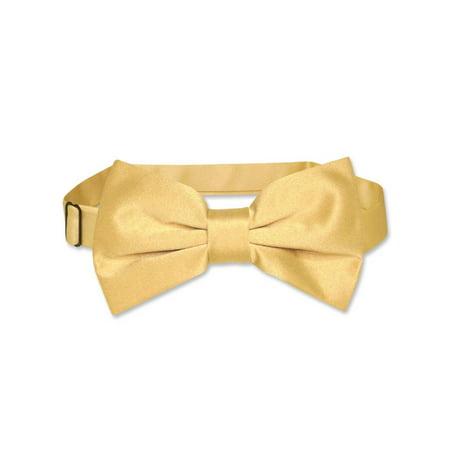 Vesuvio Napoli BOWTIE Solid GOLD Color Men's Bow Tie for Tuxedo or
