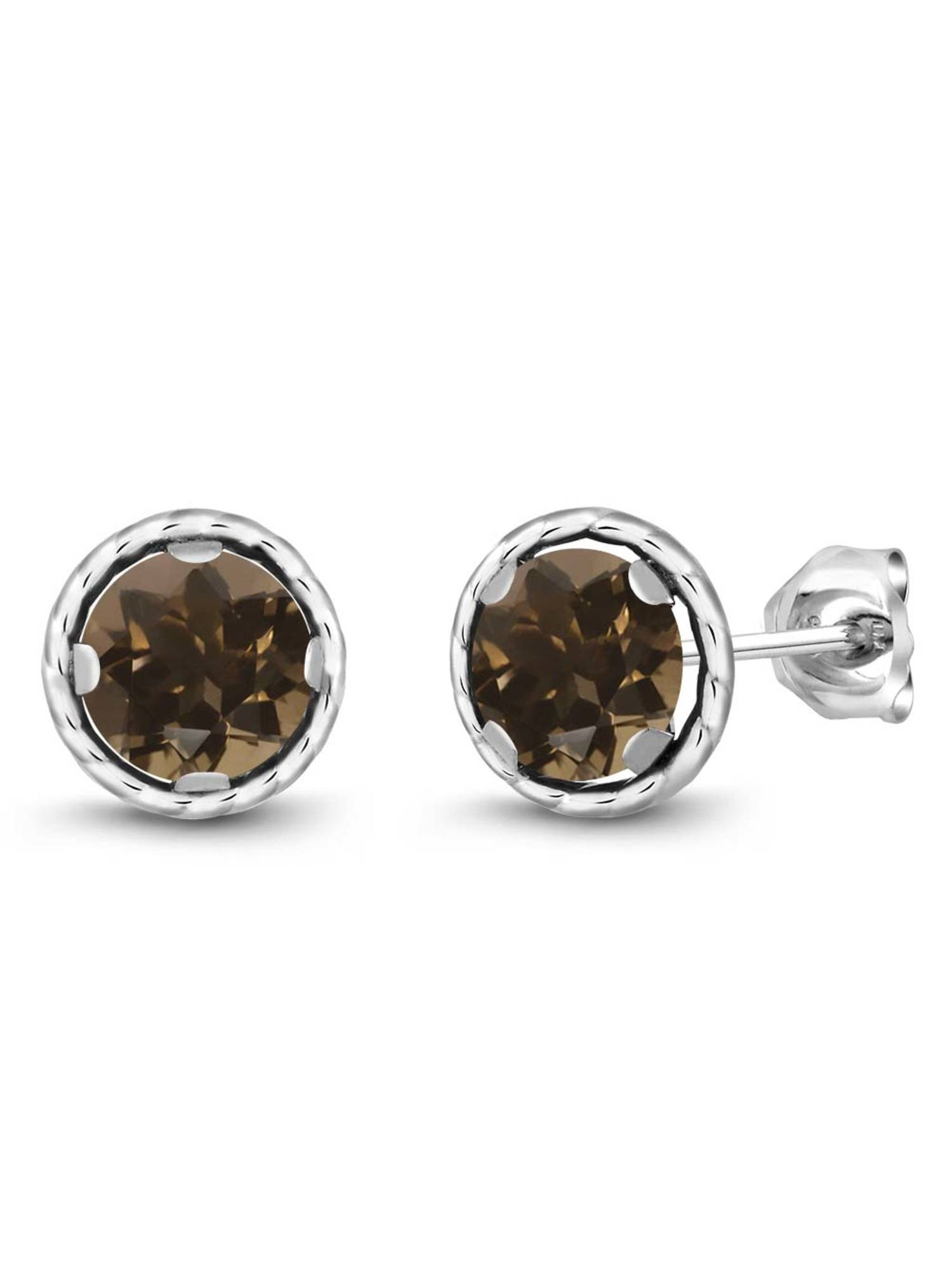 1.60 Ct Round 6mm Brown Smoky Quartz 925 Sterling Silver Stud Earrings