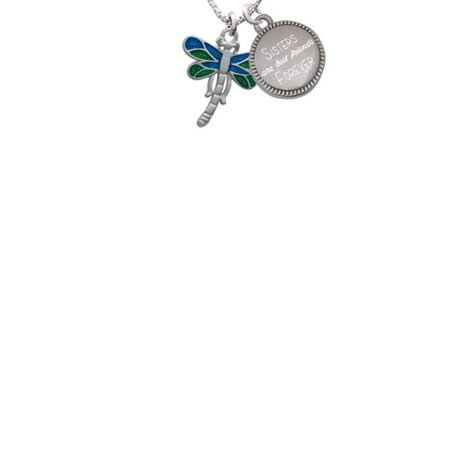 Dragonfly with Green & Blue Wings Sisters Are Best Friends Forever Engraved Necklace