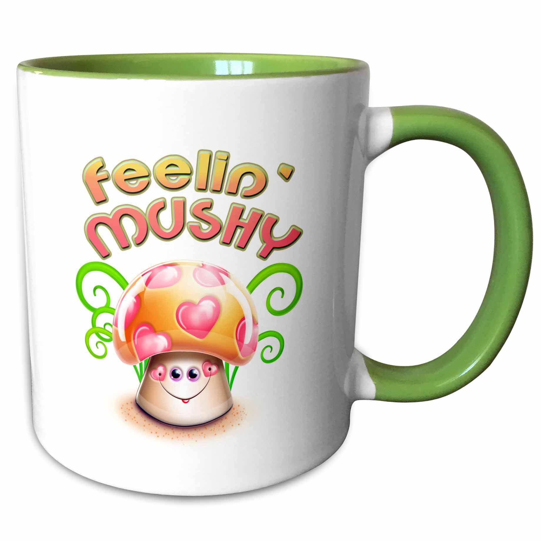 3drose Cute Feeling Mushy Cartoon Love Mushroom Toadstool Cartoon Two Tone Green Mug 11 Ounce Walmart Com Walmart Com