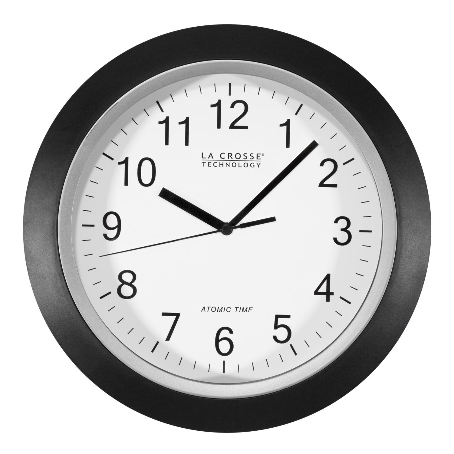 Better Homes & Gardens W85961 12 Inch Analog Atomic Black Wall Clock