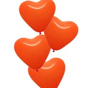 50 x Heart Latex Balloons for Party Decoration, Deco for Wedding, Anniversary Party, Orange