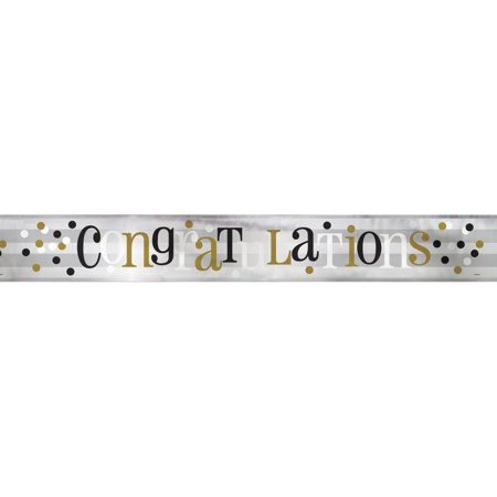 Foil Black, White, & Gold Congratulations Banner, 12 ft, 1ct](Congrats Banner)