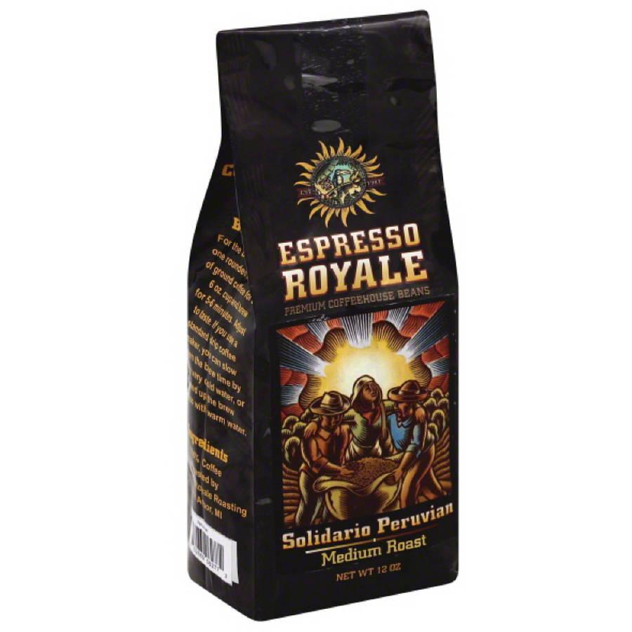 Espresso Royale Solidario Peruvian Medium Roast Coffee Beans, 12 oz, (Pack of 6) by