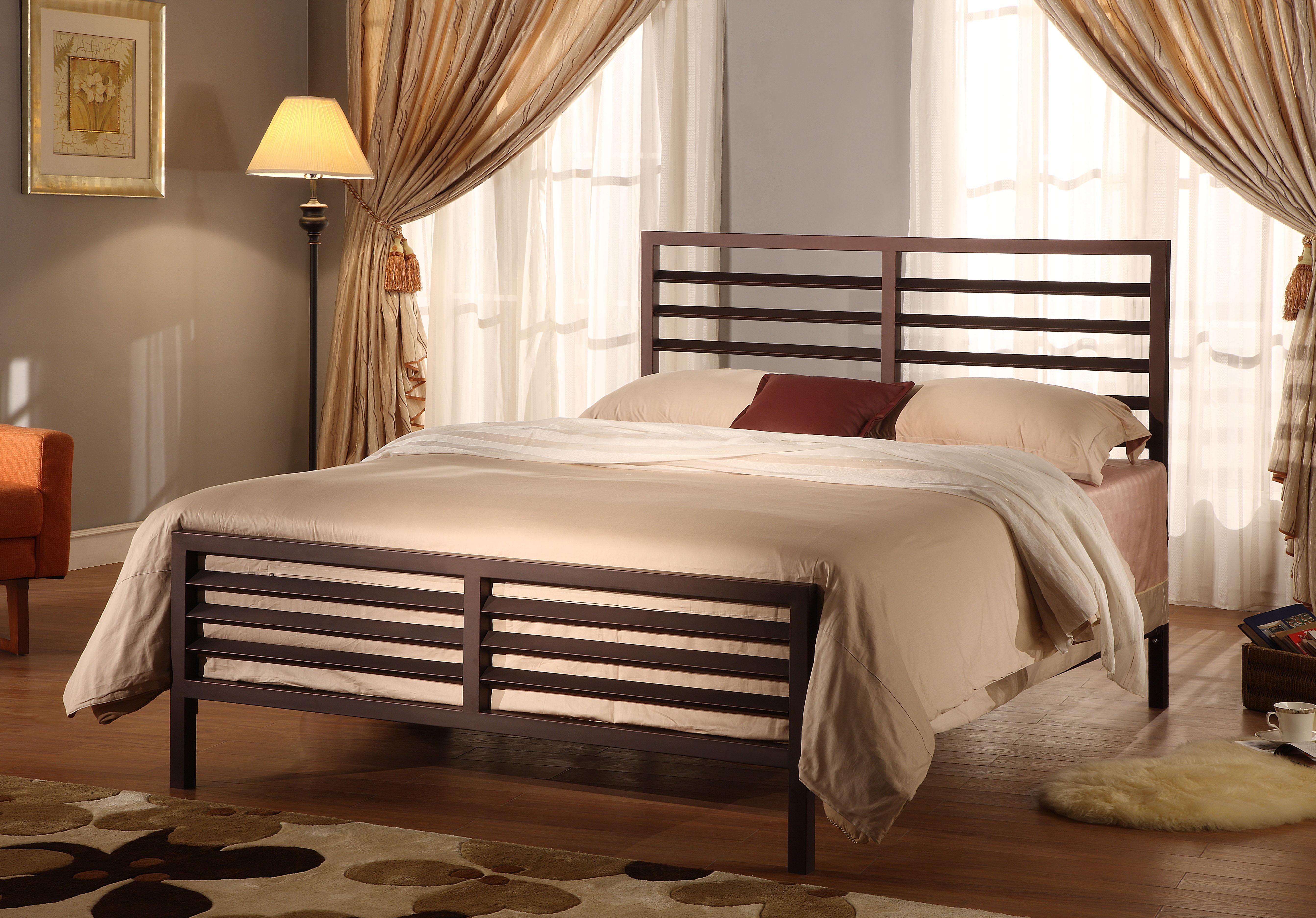 Oakland Full Size Bronze Modern Metal Slat Bed Frame (Headboard Footboard Rails & Slats) by Pilaster Designs