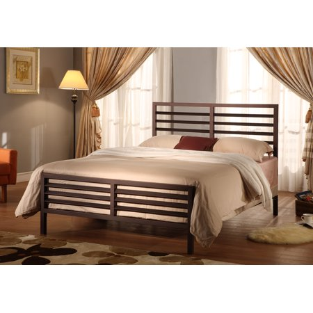 Sacramento Metal Bed Frame, Queen, Bronze, Modern, (Slatted Headboard & Footboard, Rails & Slats)
