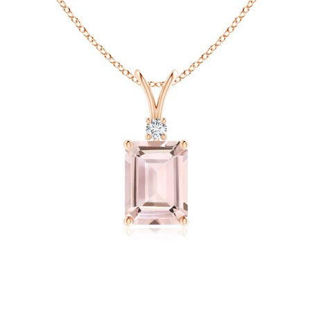V-Bale Emerald Cut Morganite Solitaire Pendant with Diamond in 14K Rose Gold (8x6mm Morganite) - SP0810MGD-RG-AA-8x6