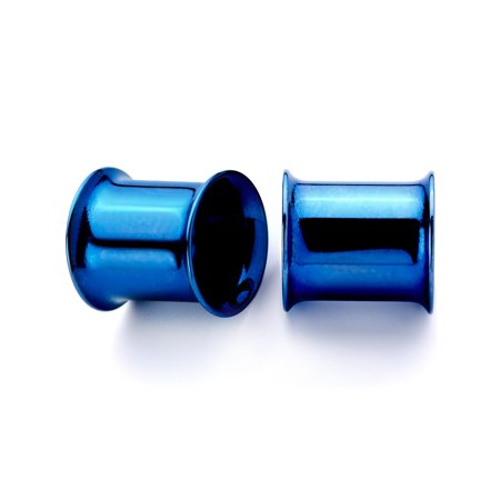 Body Candy 2Pc Blue Anodized Steel 8mm Double Flare Tunnel Plug Ear Plug Gauges Set of 2 0 Gauge