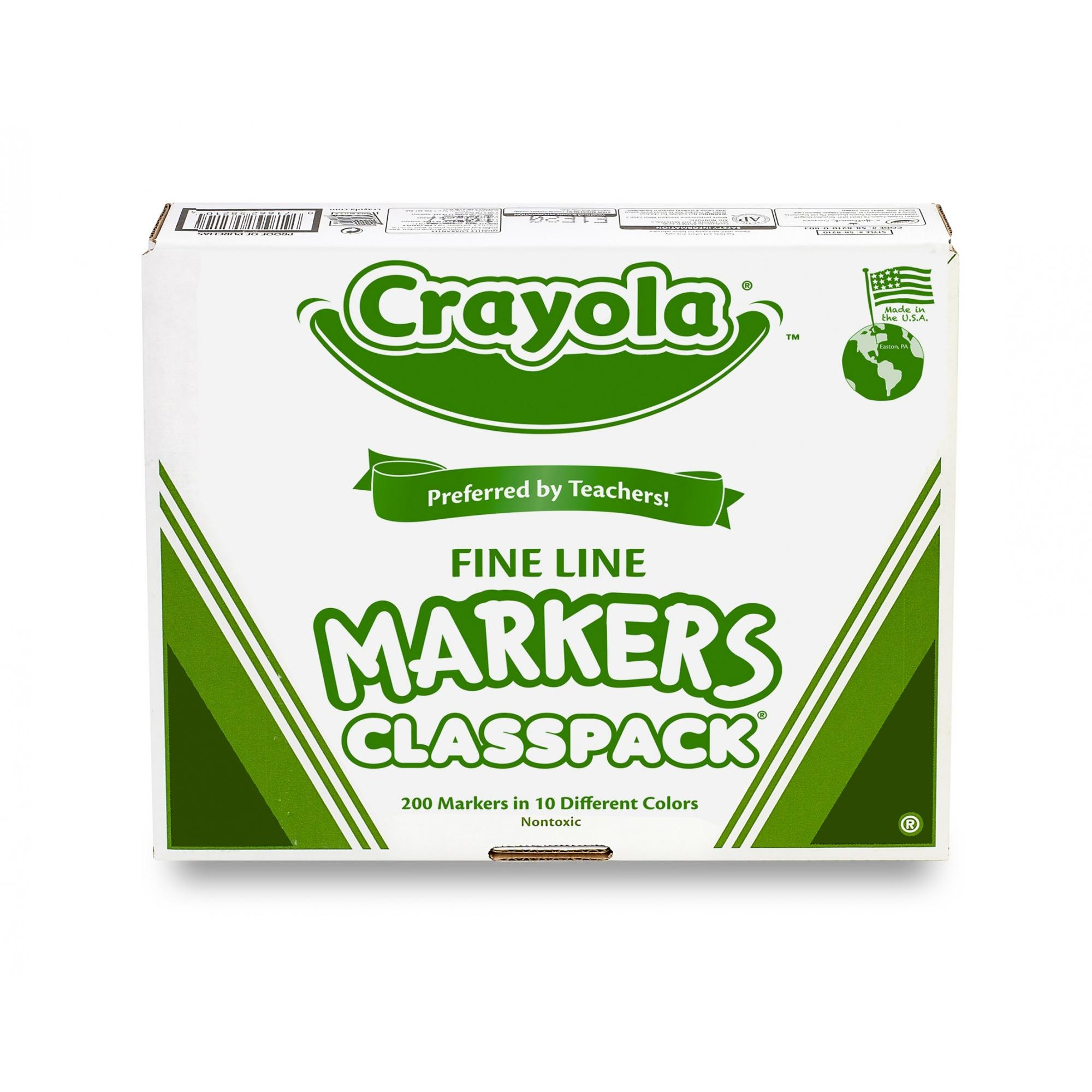 Crayola Classpack of Fine Line Markers, 200-Count, 10 Colors by Crayola, LLC