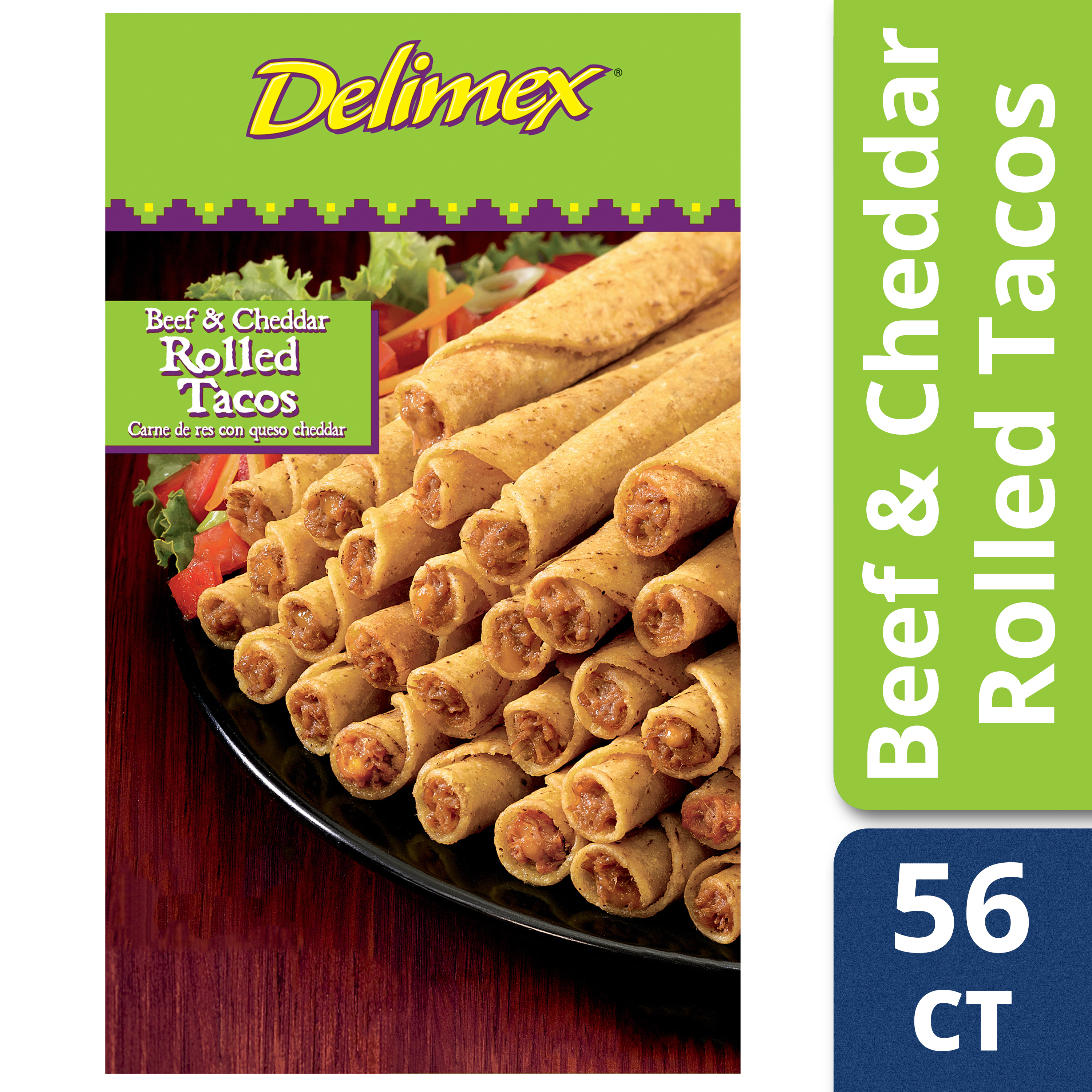 Delimex Beef & Cheddar Rolled Tacos 56 count Box