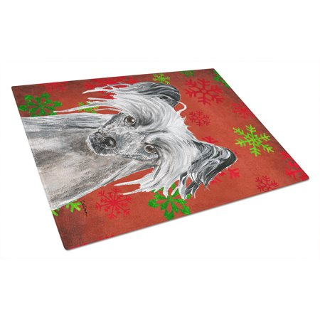 Chinese Crested Red Snowflake Christmas Glass Cutting Board Large ()