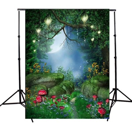 5x7FT Fairytale World Green Forest Photography Backdrop Cameras & Photo Studio Prop Background