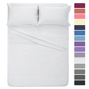 """The Great American Store Microfiber 4 Piece Attached Waterbed Sheet Set Solid (White, Queen) - 15"""" Deep Pocket - Multiple Colors - Super Soft - Wrinkle Fade Resistant and Hypoallergenic"""