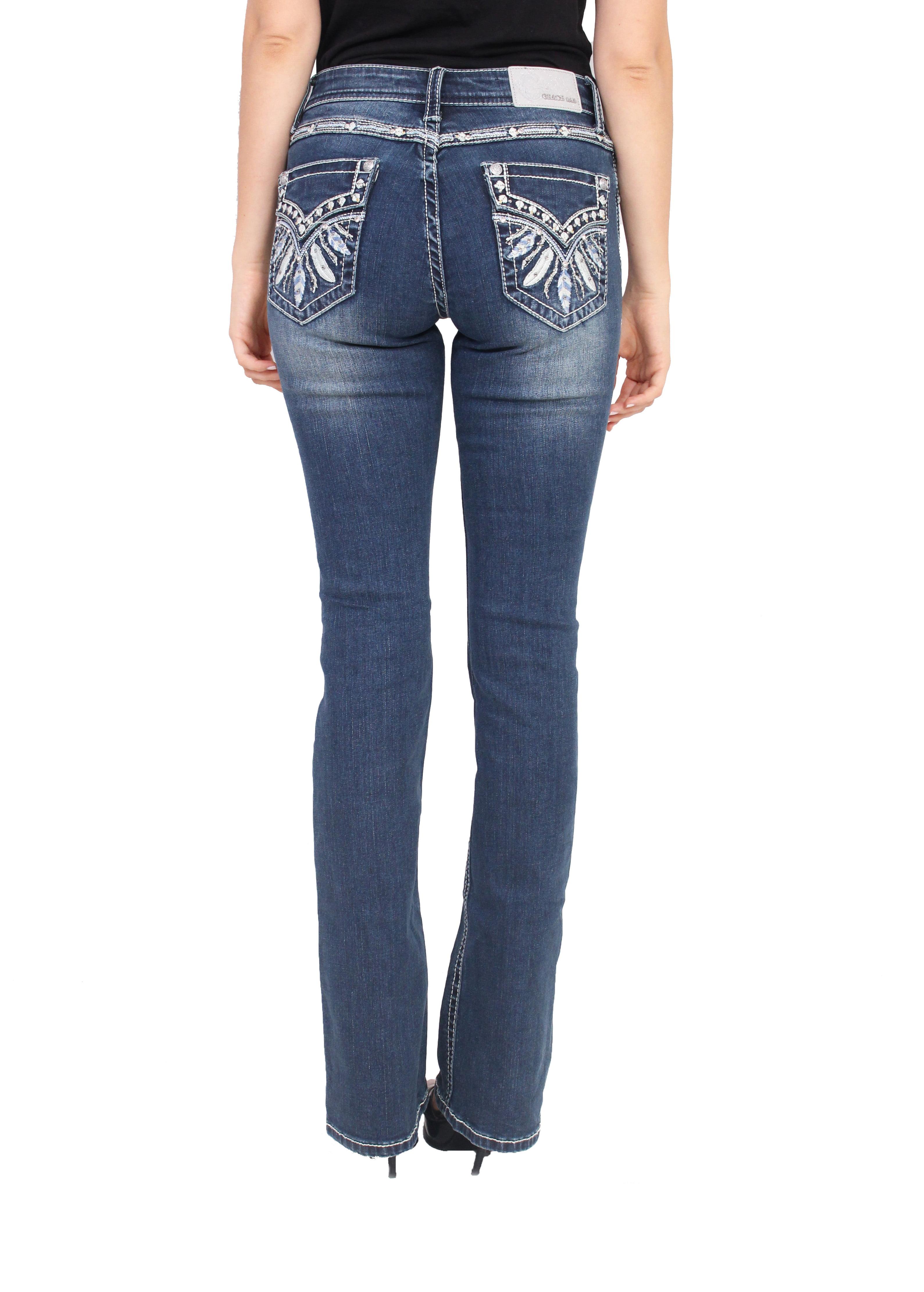Grace in LA Womens in Easy Boot Cut Jeans Blue 27