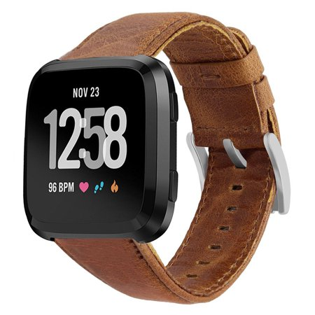 Mignova for Fitbit Versa Classic Leather Accessory Band for Women Men,Genuine Leather Replacement Bracele Wrist Watch Band for Fitbit Versa Fitness Smart Watch (Brown)