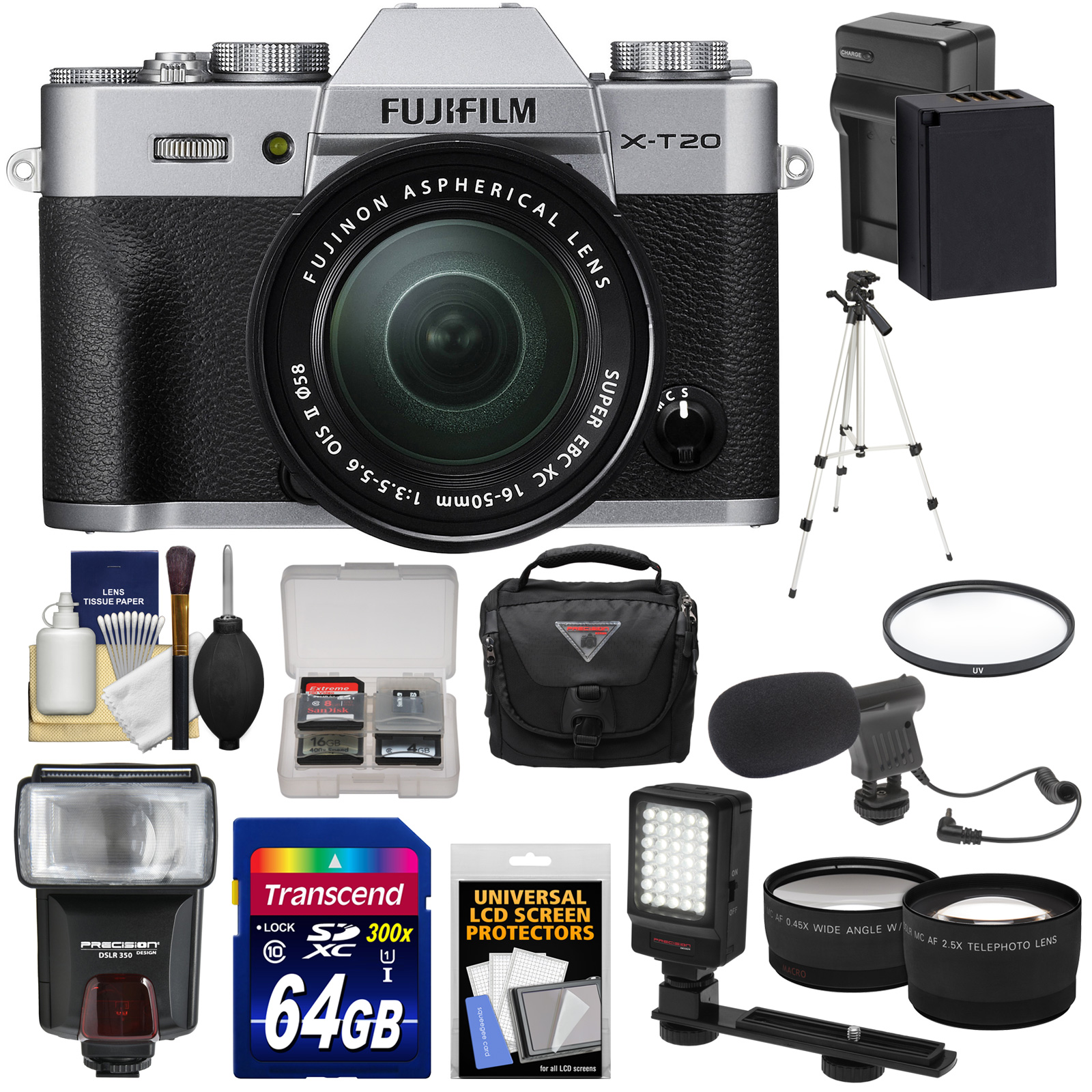 FujiFilm X-T20 Wi-Fi Digital Camera & 16-50mm XC Lens (Silver) with 64GB Card + Battery + Case + Flash + Tripod + LED +... by Fujifilm