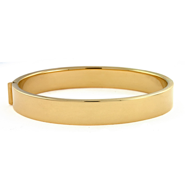 18k Yellow Gold 10.5mm High Polish Hinged Flat Bangle Bracelet by