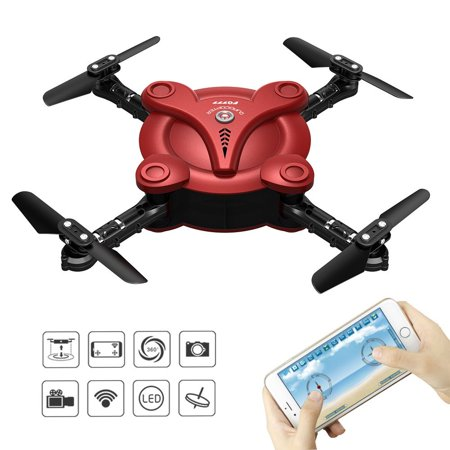 RC Quadcopter Drone with FPV Camera Live Video Foldable Aerofoils, Smart Phone and App Control UAV Predator, RTF Helicopter with 4 Channels, 6-Axis Gyro, Gravity Sensor with 2pcs (Remote Control 4 Blade Helicopter With Camera)